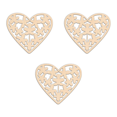Heart With Flowers - 10cm x 8.7cm - Wooden Shapes