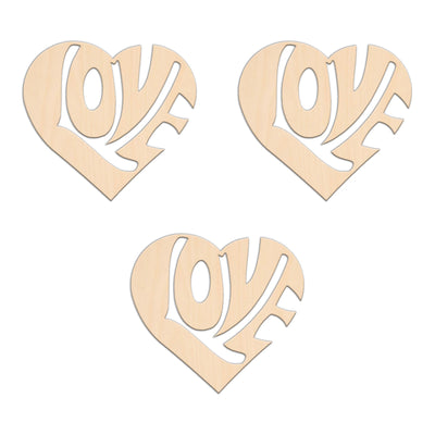 Valentines Heart With Love (Style C) - 10.8cm x 10cm - Wooden Shapes