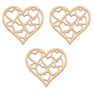 Valentines Heart With Hearts - 10.6cm x 10cm - Wooden Shapes