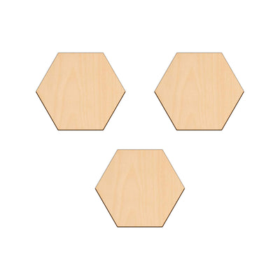 Hexagon - 10cm x 0.3cm - Wooden Shapes