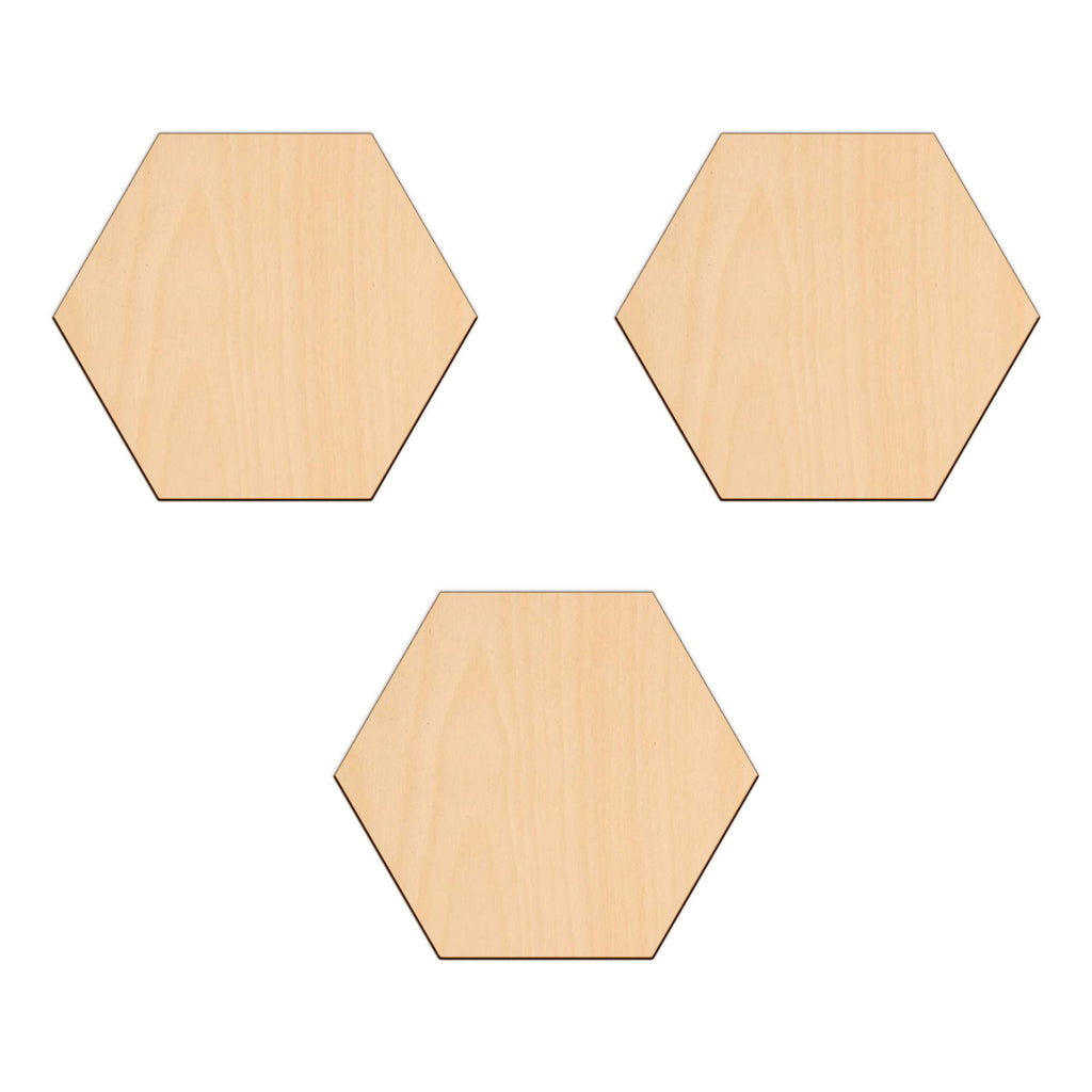 Hexagon - 15cm x 0.3cm - Wooden Shapes