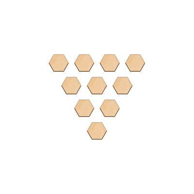 Hexagon - 3cm x 0.3cm - Wooden Shapes