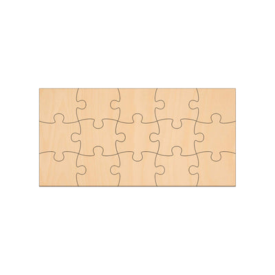 15 Piece Jigsaw - 20cm x 10cm - Wooden Shapes