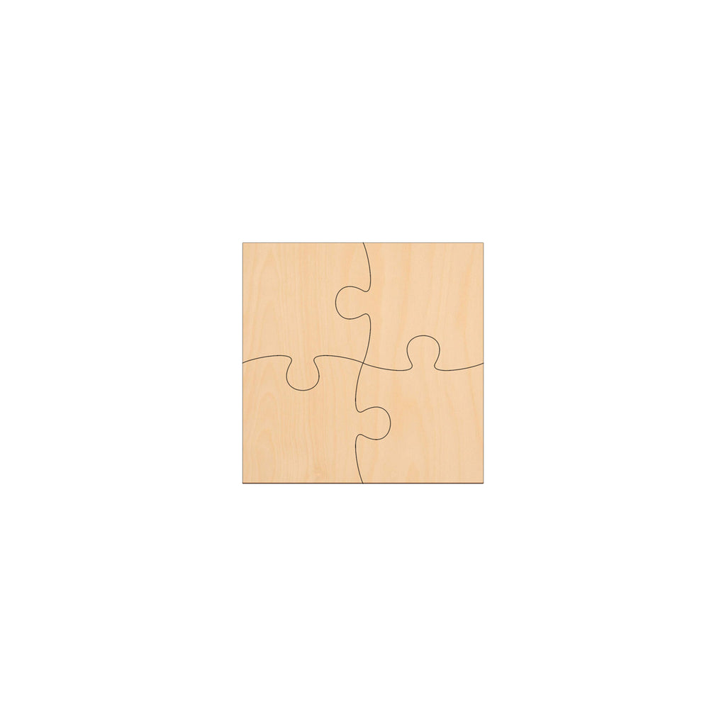 4 Piece Jigsaw - 10cm x 10cm - Wooden Shapes