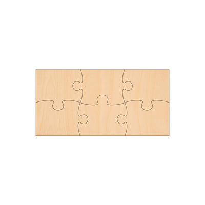 6 Piece Jigsaw - 20cm x 10cm - Wooden Shapes