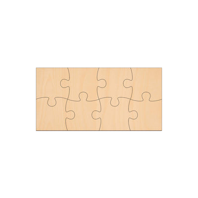 8 Piece Jigsaw - 20cm x 10cm - Wooden Shapes