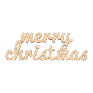 Merry Christmas Sign - 28.1cm x 9.2cm - Wooden Shapes