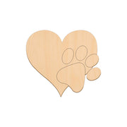 Heart With Paw - 22.2cm x 20cm - Wooden Shapes