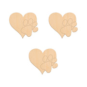 Heart With Paw - 11cm x 10cm - Wooden Shapes