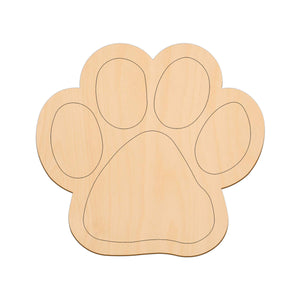 Paw Print - 20cm x 18.7cm - Wooden Shapes