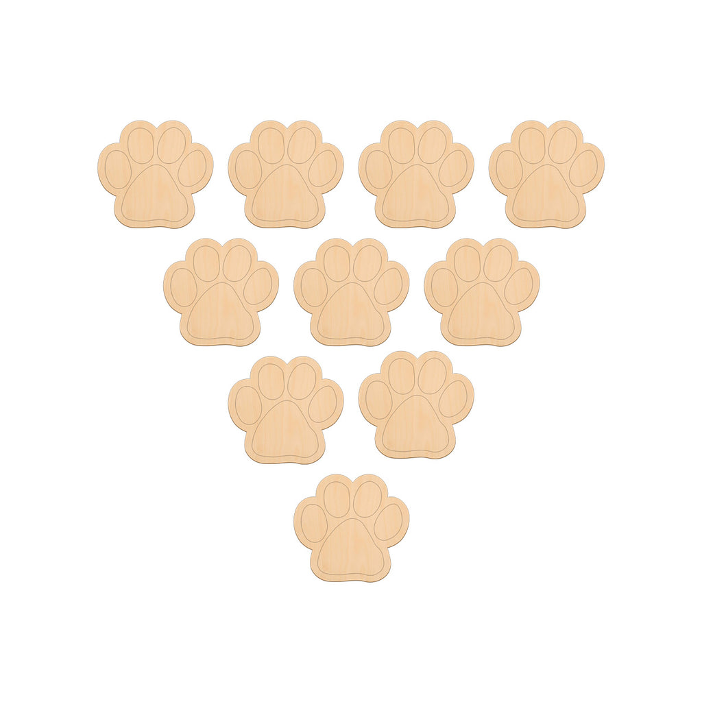 Paw Print - 5cm x 4.6cm - Wooden Shapes