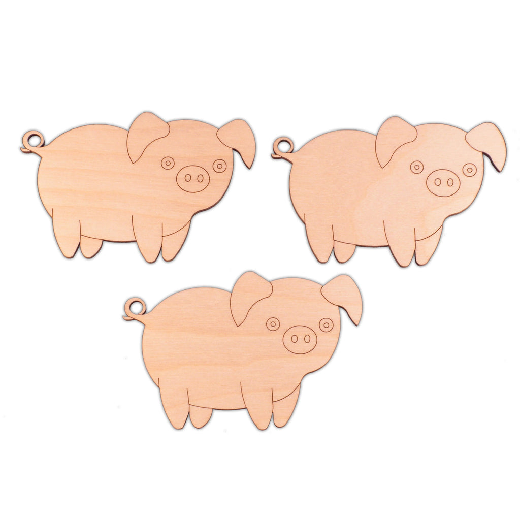 Pig (Style B) wooden shapes - 10cm x 6.6cm