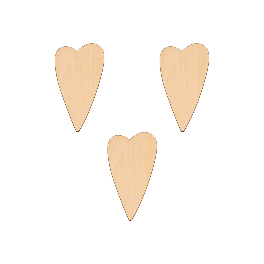 Primitive Heart (Style A) - 5.8cm x 10.4cm - Wooden Shapes