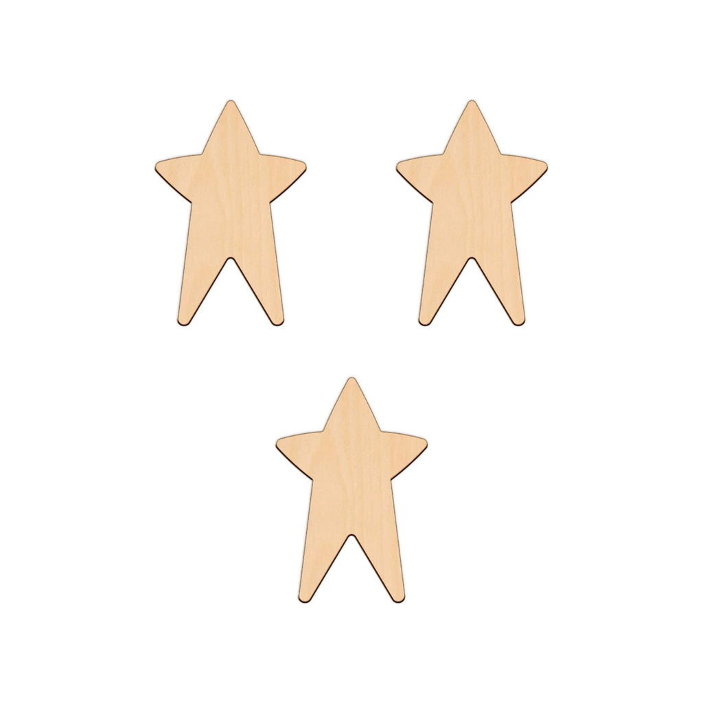Primitive Star - 6.8cm x 10.2cm - Wooden Shapes