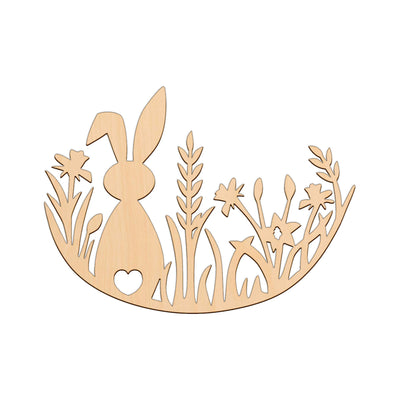 Easter Bunny In Meadow - 27.3cm x 20cm - Wooden Shapes