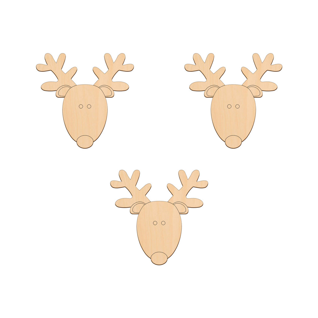 Reindeer Head - 10.2cm x 10cm - Wooden Shapes
