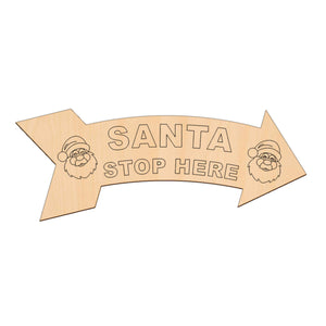 Santa Stop Here Arrow - 40cm x 14cm