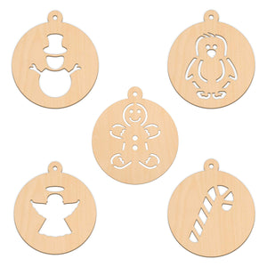 Bauble Set A - 5 Per Set - 10cm x 11.3cm - Wooden Shapes