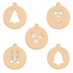 Bauble Set B - 5 Per Set - 10cm x 11.3cm