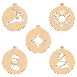 Bauble Set D - 5 Per Set - 10cm x 11.3cm - Wooden Shapes