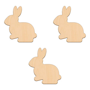 Sitting Rabbit (Style B) - 9cm x 10cm - Wooden Shapes