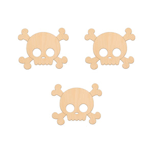 Skull and Crossbones - 8.3cm x 6.8cm - Wooden Shapes