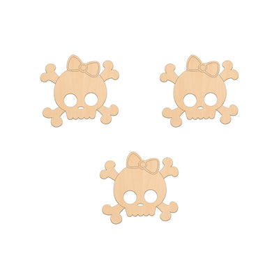 Girl Skull and Crossbones - 8.3cm x 7.7cm - Wooden Shapes