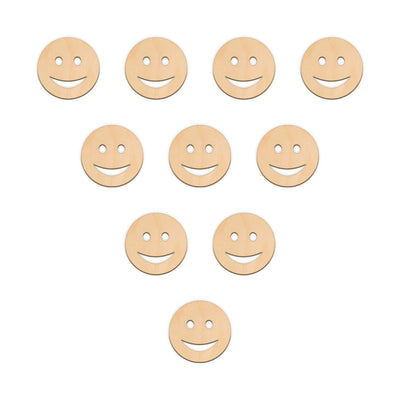 Smiley Face Emoji - 5cm x 5cm - Wooden Shapes