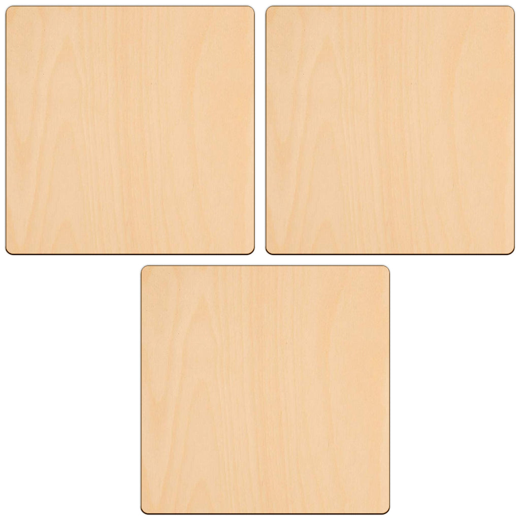WOODEN SQUARE Shapes 10.2cm laser cut wood cutouts crafts blank shape x10
