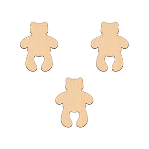 Standing Teddy - 8cm x 10.6cm - Wooden Shapes