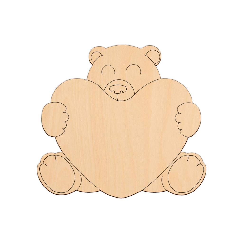 Teddy Hugging A Heart - 20cm x 18.1cm - Wooden Shapes