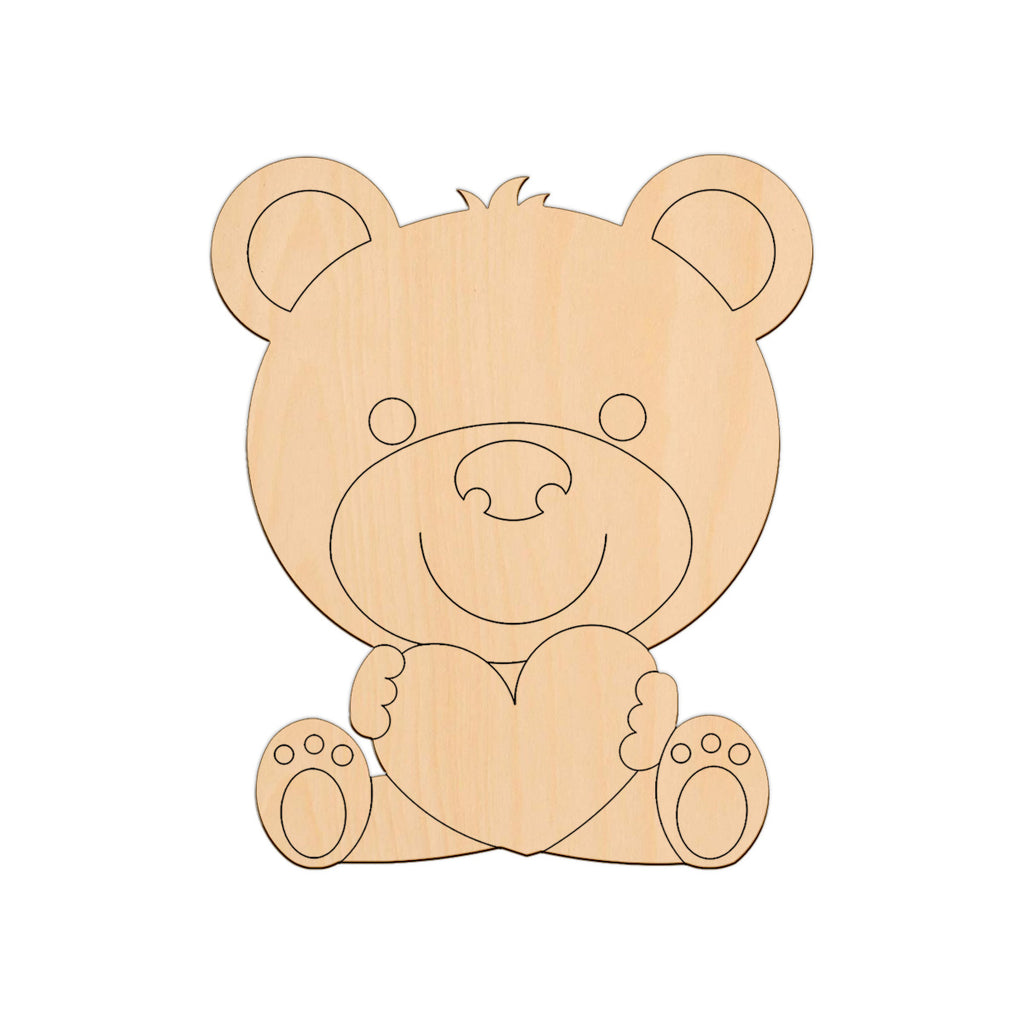 Teddy Sitting With A Heart - 14.3cm x 20cm