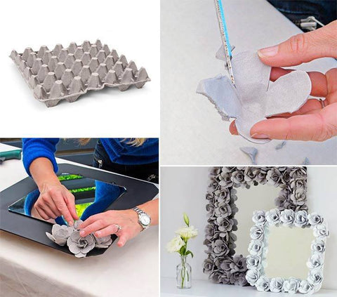 Reuse of Egg Cartons into Flowers
