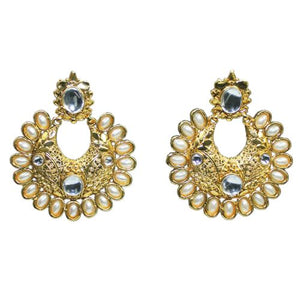 Traditional Indian Mirror Stone Pearl Dangler Women's Earrings - DChyper