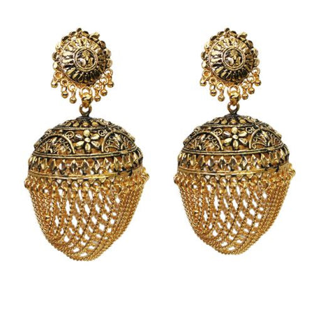 Traditional Indian Antique jhumka Women's Earrings With Chains - DChyper