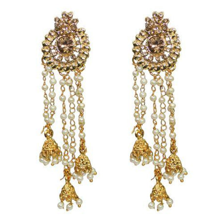 Traditional Indian Roll Chain Dangle Women's Earrings With Pearls - DChyper