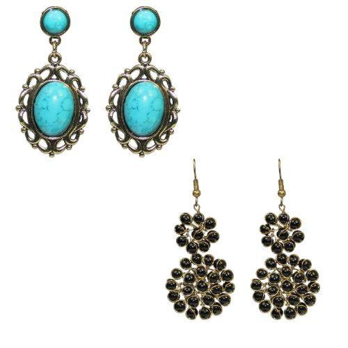 Traditional Combo Of  2  Dangle Women's Fashion Stone Earrings - DChyper