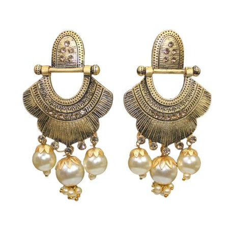 Traditional Indian Dangle Women's Fashion Earrings With Pearls - DChyper