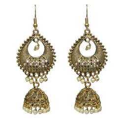 Traditional Indian Antique Golden Fancy Jhumki Earrings Women's Fashion Earrings With Pearls