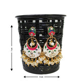 Traditional Indian Meenakari Chandbali Dangle Women's Earrings - DChyper