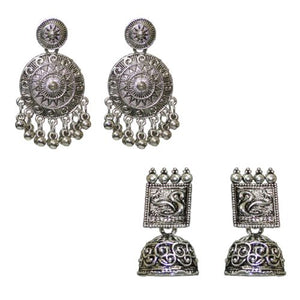 Traditional Oxidized Combo Of 2 Dangle Jhumka Women's Earrings - DChyper