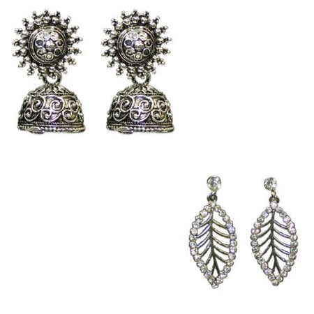Traditional Silver Combo Of  2  Jhumkas Studs Women's Earrings - DChyper