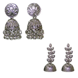 Silver Oxidized Combo Of 2 Ethnic Traditional Jhumka Beaded Earrings