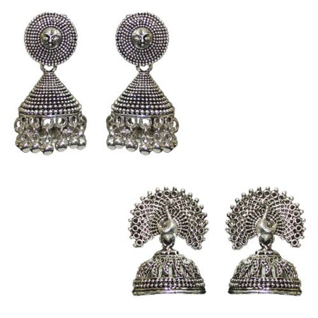 Traditional Indian Combo Of 2 Fashion Jhumkas Women's Earrings - DChyper