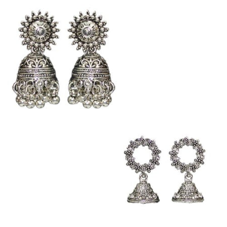 Traditional Combo Of 2 Silver Oxidised Jhumka Women's Earrings - DChyper