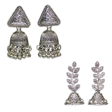 Traditional Combo Of 2 Silver Jhumkas Women's Fashion Earrings - DChyper