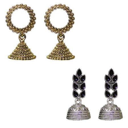 Traditional Indian Combo Of 2 Jhumkas Women's Fashion Earrings - DChyper