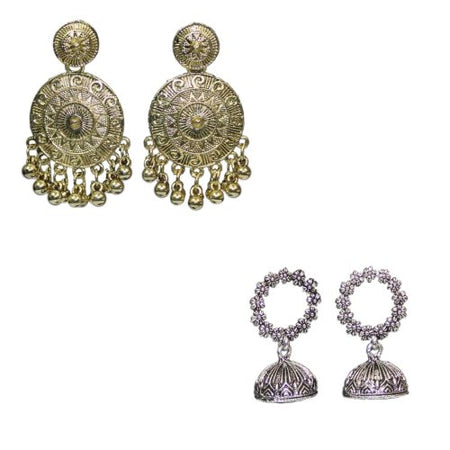 Traditional Combo Of 2 Ethnic Dangler Jhumkas Women's Earrings - DChyper
