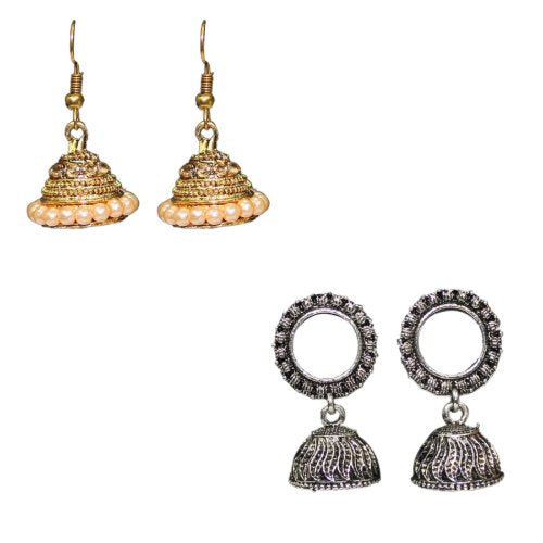 Traditional Indian Fashion Combo Of 2 Jhumkas Women's Earrings - DChyper