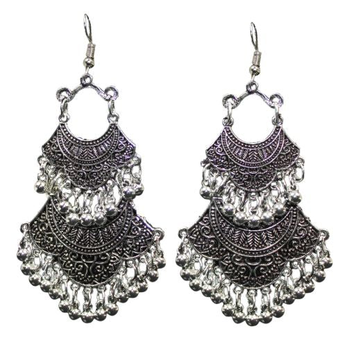 Traditional Silver Oxidised Dangle With Beads Women's Earrings - DChyper